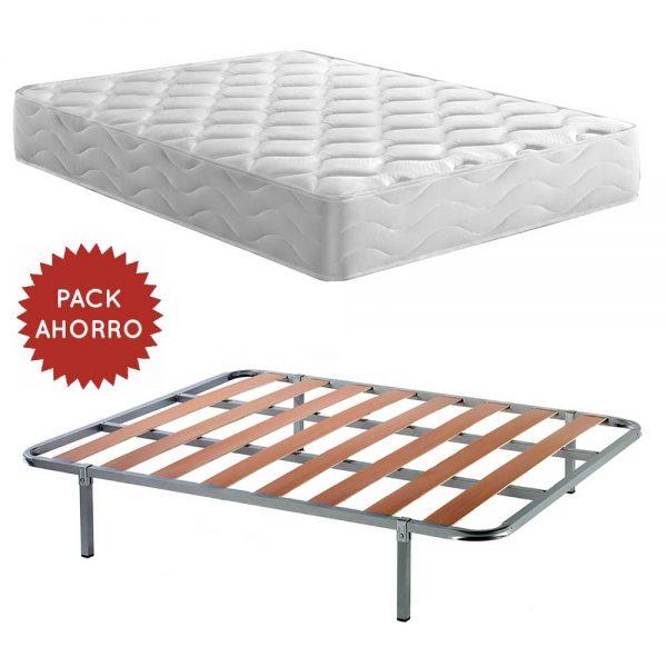 Pack Ahorro Colchón Firenza de 25 cm con Viscoelástico y 7 zonas de Confort + Somier de lámas Inoxidable