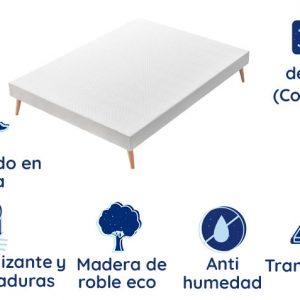 Pack Somier tapizado Marsella + Colchón de Alta Gama Madrid, 30 cm de Altura
