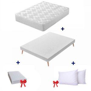 Pack Ahorro California, Colchón de 30 cm + Somier tapizado Marsella + Protector impermeable y Almohadas de microfibra Gratis